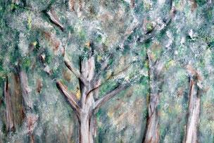"""Maluebung mit weisser Farbe auf einem """"fertigen"""" Uebungsbild eines imaginaeren Waldes"""