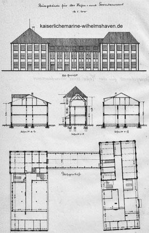 Grundriss des Gebäudes am Hafenbauhof an der heutigen Weserstr. 78/Virchowstr. 1
