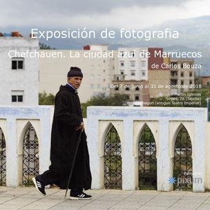 """Cartel de la exposición fotográfica """"Chefchauen. la ciudad azul de Marruecos."""" por  Carlos Bouza"""