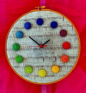 Uhr aus Posamentenknöpfen auf handgeschr. Notenblatt im Stickrahmen, Helene Weinold, Violau, Foto: Heinrich Opper, Schwalmstadt