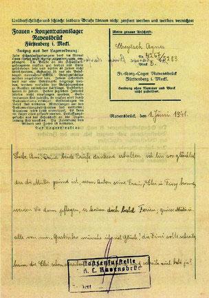 Brief aus dem KZ - vom 01.06.1941 aus dem Frauenkonzentrationslager Ravensbrück
