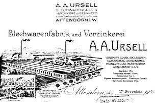 Kopfbogen der Firma A. A. Ursell