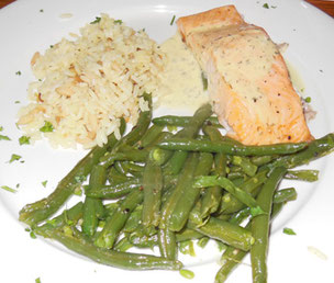 Baked Salmon was Moist, and Napped with Dill Sauce