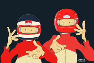 Doblete del piloto brasileño Rubens Barrichello y el germano Michael Schumacher by Muneta & Cerracín
