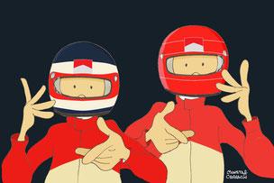Doblete de Rubens Barrichello y Michael Schumacher by Muneta & Cerracín