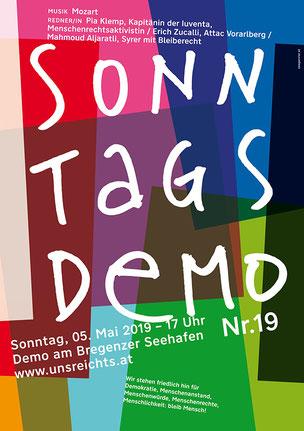 Sonntagsdemo von 'uns reicht,s' in Bregenz am Hafen am 5. Mai um 17:00 Uhr Bild: Plakat zur Veranstaltung