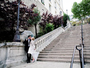Love story in Paris Montmartre under the rain