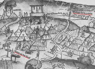 """Wienerberg mit Bildseul (Spinnerin am Kreuz), links davon Hochgericht, links unten """"Reder an der straß""""**"""