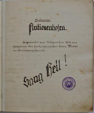 Titelblatt der ersten Chorchronik
