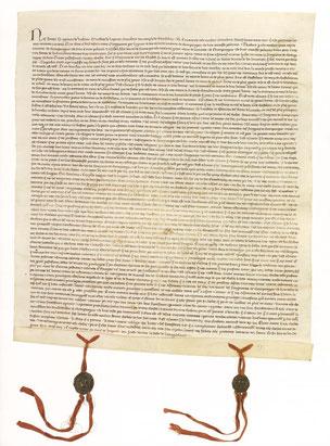 Parchemin, 500 x 440mm (repli : 10 mm) ; scellé de deux sceaux de cire verte sur rubans de soie rouges. Arch. nat, J 198b, n° 100. Temple de Paris