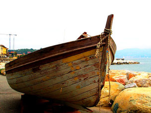 ein Oldtimer-Fischerboot aus Holz