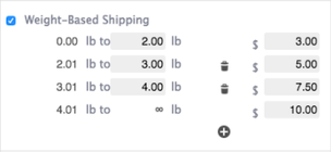 Weight-based shipping option display