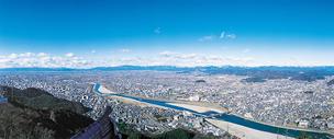 金華山山頂から見た岐阜市内の写真