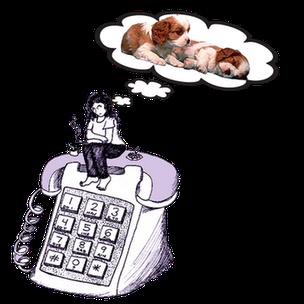 Donna seduta su un enorme  telefono pensa al cucciolo da acquistare