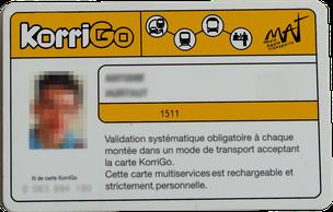 Vue d'artiste d'une carte KorriGo émise par le réseau Malo Agglomération Transports.