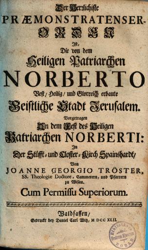 Titelseite von Trösters Speinsharter Predigt.