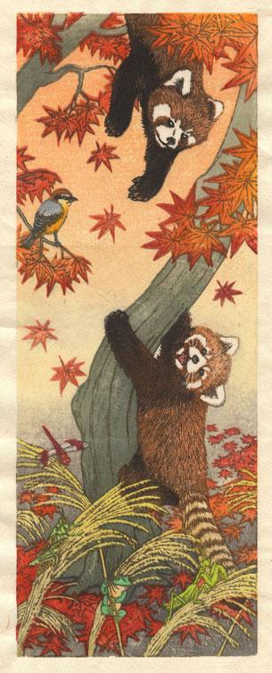 諧調四季禽獣図(秋) 木版画 40x15cm