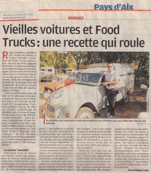 La Provence, édition Pays d'Aix, le 30/09/2015