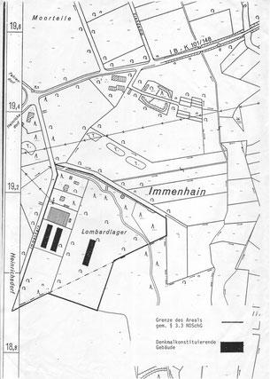 Erhaltene und zu dem Zeitpunkt unter Denkmalschutz stehende Gebäude des ehem. Kriegsgefangenen-Lazarett. Denkmalschutzkarte des NLD, nicht datiert.