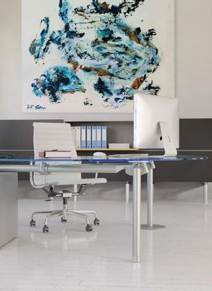 Ergonomischer Arbeitsplatz durch abstrakte Bilder für das Büro - Kunst Bilder kaufen mieten leasen