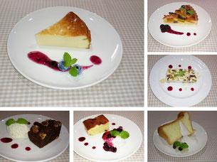 ヨーグルトケーキ・タルト・ブラウニー・シフォンケーキの写真
