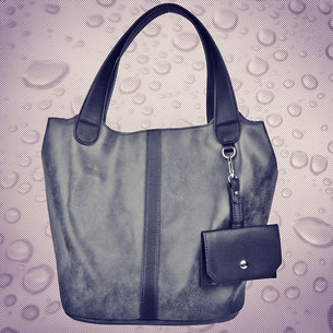 schwarze Beutel-Tasche , Lederimitat , Regensicher