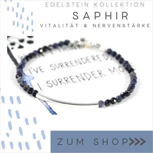 Saphir Edelsteinarmband mit Verschluß 925 Silber