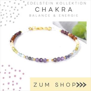 Edelsteinarmband in sieben Chakra - Chakren Farben