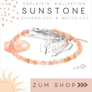 Edelstein Armband mit orangenem Sunstone- Sonnesnstein
