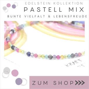 Pastell Mix Edelstein Armband und 925 Silber Verschluß