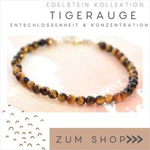Tigerauge Edelstein Armband und 925 Silber Verschluß