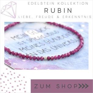 Rubin rotes Edelstein Armband und 925 Silber Verschluß