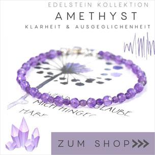 Amethyst Armband mit lila Steinen & 925 Silber Verschluß