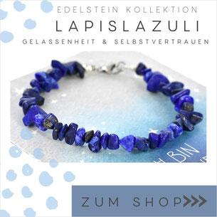 Edelsteine Lapislazuli blaues Edelstein Armband und 925 Silber Verschluß