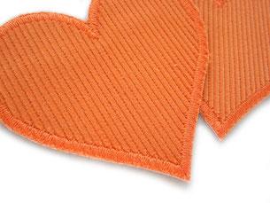 Bild: Cordflicken Herz orange, Retro Herz Aufnäher als Flicken für Cordhosen, Bügelflicken orange
