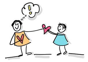 $starke und tragfähige Verbindung pflegen zwischen Eltern und Kind