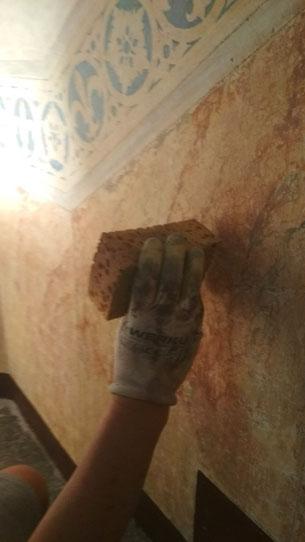 Restauración estuco efecto mármol