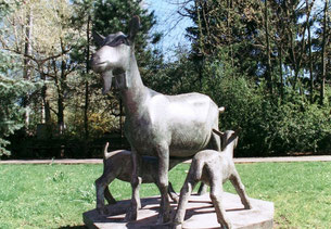 dudweiler, bergmannskuh, deutsche edelziege, denkmal, bronzeguss