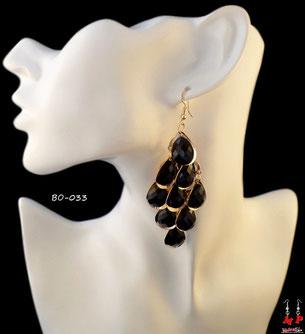 Boucles d'oreilles pendantes crochets dorés strass noirs