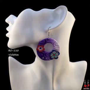 Boucles d'oreilles pendantes rondes avec fleurs en pâte Fimo