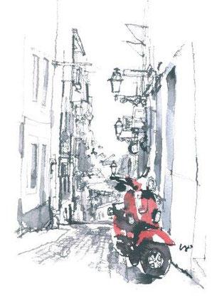 「赤いスクーター/リスボン・ポルトガル」ハガキサイズ