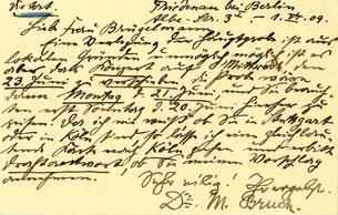Karte von Max Bruch an Hedy Brügelmann, Juni 1909