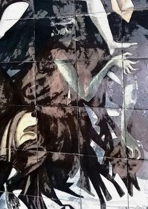 """Darstellung des Bösen durch Jorge Barradas in seinem Keramikbild: """"Lob des Wissens"""", 1957, in der Eingangshalle der Philosophischen Fakultät der Universität Lissabon"""