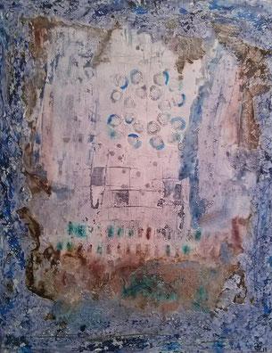 Into the Blue 2017 (Acryl Mischtechnik Strukturpaste, Asche, Sumpfkalk, Pigmente, Kaffee) 80x100x4....nicht mehr verfügbar