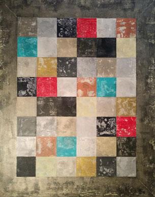 Patchwork Vintage 2018 (Acryl auf Leinwand) 80x100x4  ... verfügbar in Mallorca.. disponable en illes balears