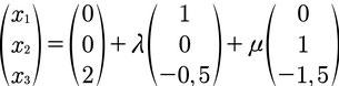Lösung des Beispiels zur Berechnung der Parameterform