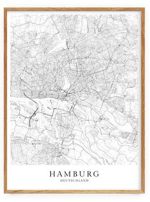 Karte von Hamburg als Poster Map