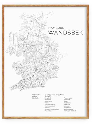 Karte von Hamburg Wandsbek als Poster Map