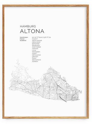 Karte als Poster von Hamburg Altona