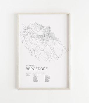 Karte Hamburg Bergedorf als Poster Map